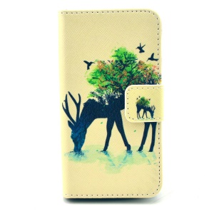 For iPhone 4 4s Durable PU Leather Stand Case Wallet - Antelope & Tree