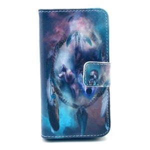 Wallet Card Holder Leather Shell for iPhone 4 4s - Dream Catcher & Wolves