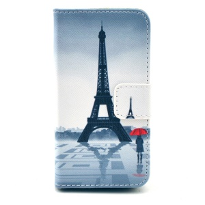 Folio Stand Leather Protective Case Wallet for iPhone 4 4s - Eiffel Tower