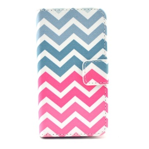 Folio Stand Wallet Leather Magnetic Case for iPhone 4 4s - Colorful Chevron Wave
