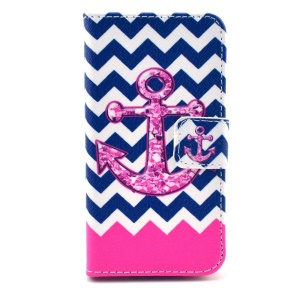 Folio Stand Leather Skin Case Wallet for iPhone 4 4s - Chevron Wave & Anchor