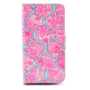 Wallet Leather Stand Case Shell for iPhone 4 4s - Rose Blommy Flowers