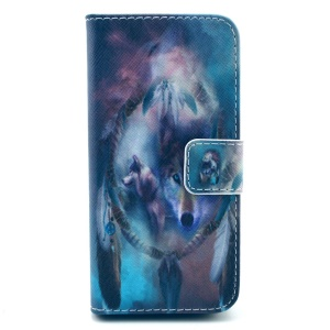 Cool Wolf & Dream Catcher Wallet Leather Stand Cover for iPhone 5s 5