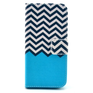 Wave Stripes Leather Magnetic Cover w/ Stand for iPhone 5s 5