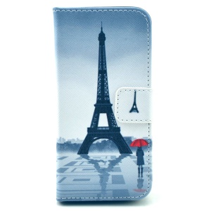 Eiffel Tower & Girl Leather Wallet Cover for iPhone 5c w/ Stand