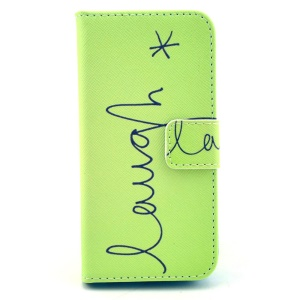 Laugh Pattern Leather Wallet Case Cover for iPhone 5c w/ Stand