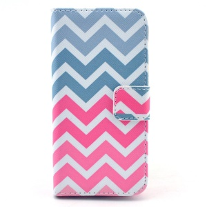 Colorized Chevron Pattern Leather Magnetic Shell for iPhone 5c w/ Stand