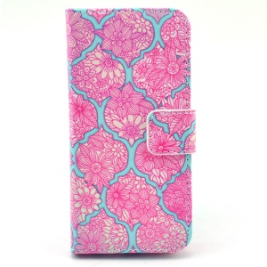 Pink Flowers Pattern Leather Stand Shell for iPhone 5c