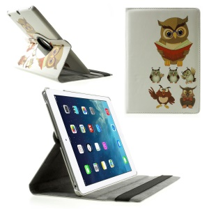 Rotary Stand Smart Leather Case for iPad Air - Owl Teacher & Students