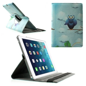 Rotary Stand Smart Leather Cover for iPad Air - Owl & Clouds