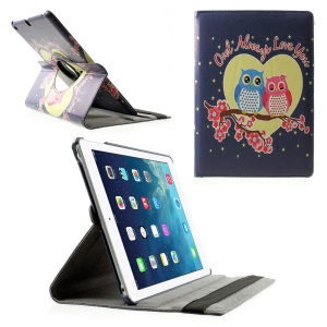 Rotary Stand Smart Leather Case for iPad Air - Sweet Couple Owl