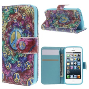 Colorized Leather Stand Wallet Case for iPhone 5 5s - Multiple Ringlets