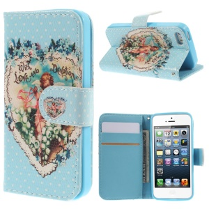 Colorized Stand Wallet Leather Case Cover for iPhone 5 5s - Flower Heart Angel