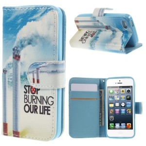 Magnetic Leather Stand Cover Card Holder for iPhone 5 5s - Cigarettes & Quote