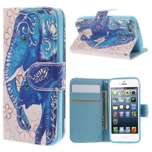 Magnetic Leather Stand Cover Card Holder for iPhone 5 5s - Elephants & Flowers