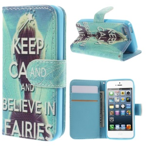 Magnetic Leather Stand Case Card Holder for iPhone 5 5s - Beautiful Fairy & Quote