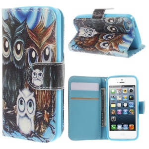 Colorized Leather Stand Case Card Holder for iPhone 5 5s - Cute Owl Family