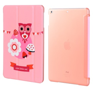 LOFTER Garden Series Smart Leather Stand Shell for iPad Air - Rose Red Little Owl