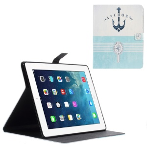Leather Wallet Case for iPad 2 / 3 / 4 with Stand - Anchor and Compass