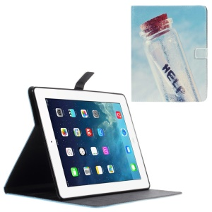 Leather Wallet Cover for iPad 2 / 3 / 4 with Stand - Drift Bottle