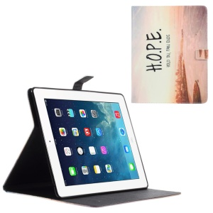 Leather Wallet Shell for iPad 2 / 3 / 4 with Stand - Quote Hold on Pain Ends and Ocean