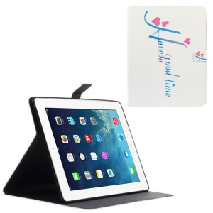 Leather Wallet Cover for iPad 2 / 3 / 4 with Stand - Heart and Quote Have a Good Time