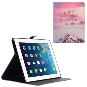 Leather Wallet Cover for iPad 2 / 3 / 4 with Stand - Quote Be Happy and Snow Mountain