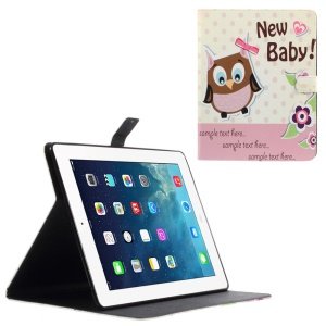 Leather Wallet Cover for iPad 2 / 3 / 4 with Stand - Cute Owl