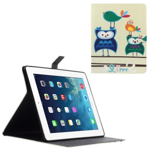 Leather Wallet Cover for iPad 2 / 3 / 4 with Stand - Birds