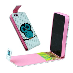 For iPhone 5 5s Vertical Flip Leather Card Holder Case - Napping Owl and Polka Dots