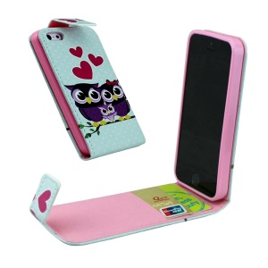For iPhone 5 5s Vertical Flip Leather Card Holder Case - Love Heart Owl Family