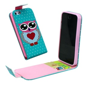 For iPhone 5 5s Vertical Flip Leather Card Holder Cover - Adorable Owl