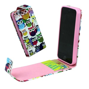 For iPhone 5 5s Vertical Flip Leather Card Holder Shell - Multiple Cute Owls