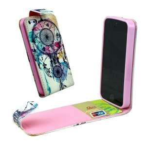 For iPhone 5 5s Vertical Flip Leather Card Holder Case - Dream Catcher
