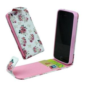 For iPhone 5 5s Vertical Flip Card Holder Leather Cover - Elegant Roses