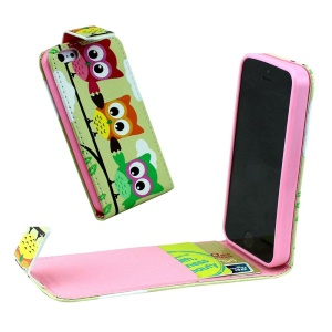 For iPhone 5 5s Vertical Flip Leather Card Holder Shell - Three Lovely Owls
