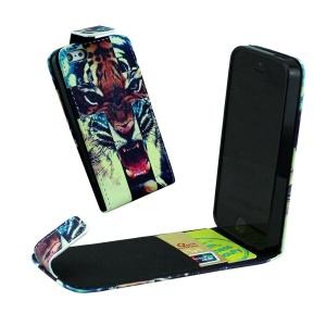 For iPhone 5 5s Vertical Flip Leather Card Holder Case - Roaring Tiger