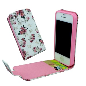 Card Slots Vertical Flip Leather Case for iPhone 4 4s - Charming Roses