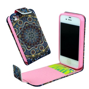 Card Slots Vertical Flip Leather Cover for iPhone 4 4s - Mandala Flower