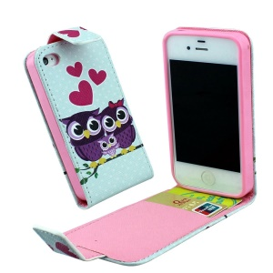 Card Slots PU Leather Vertical Flip Case for iPhone 4 4s - Love Owl Family