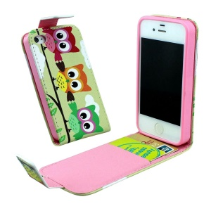 Card Slots Vertical PU Leather Flip Cover for iPhone 4 4s - Three Cute Owls