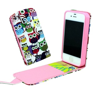 Vertical Flip PU Leather Shell for iPhone 4 4s with Card Slots - Many Cartoon Owls