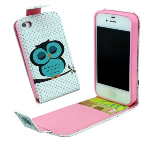 Vertical Flip Leather Phone Case for iPhone 4 4s with Card Slots - Green Nap Owl