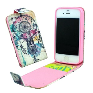 Magnetic Vertical Leather Flip Case for iPhone 4 4s with Card Slots - Aeolian Bells