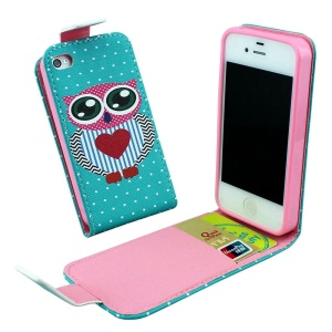 Magnetic Vertical Flip Leather Skin Case for iPhone 4 4s with Card Slots - Love Owl