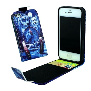 Vertical Flip Leather Case for iPhone 4 4s with Card Slots - Dream Catcher and Wolves