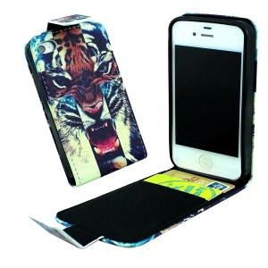 Credit Card Slots Vertical Flip Leather Cover for iPhone 4 4s - Howling Tiger