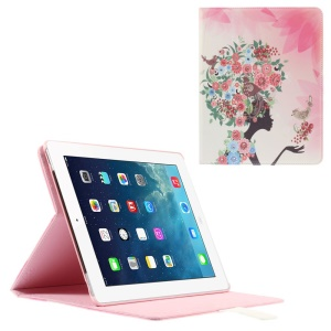 Smart Rhinestone Leather Stand Case for iPad 2 3 4 - Flowered Girl with Birds