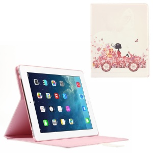 Smart Rhinestone Leather Stand Case for iPad 2 3 4 - Beauty on the Car with Flowers