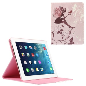 Smart Rhinestone Leather Stand Cover for iPad 2 3 4 - Girl with Wings and Butterfly